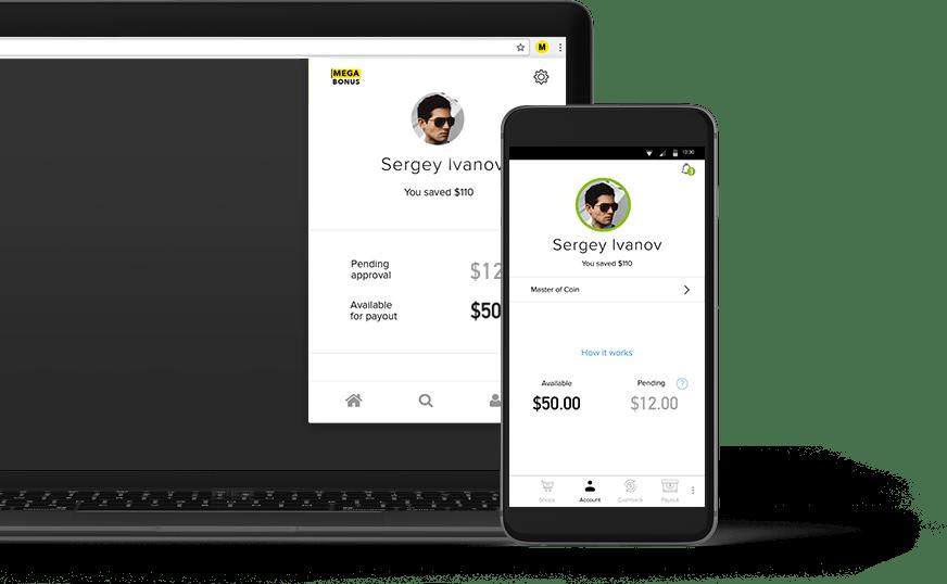 Мобильное приложение кэшбэк-сервиса Megabonus для Android и расширение для браузера