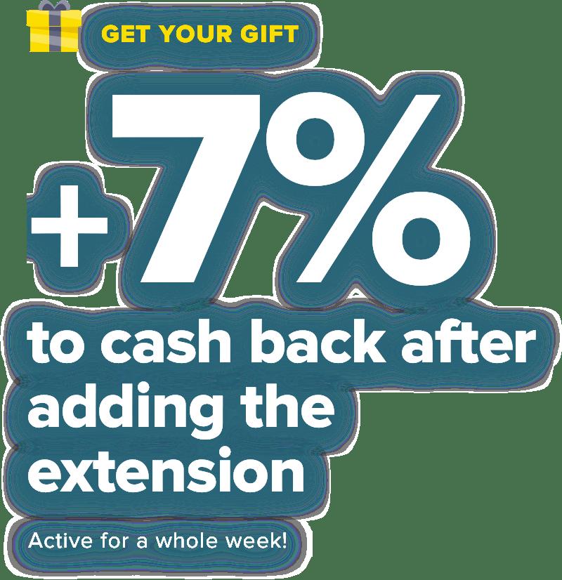 +7% to cashback after registration