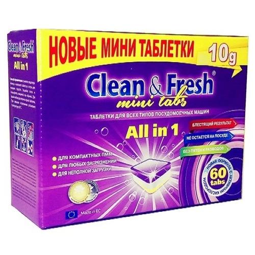 Clean & Fresh All in 1 mini tabs таблетки для посудомоечной машины