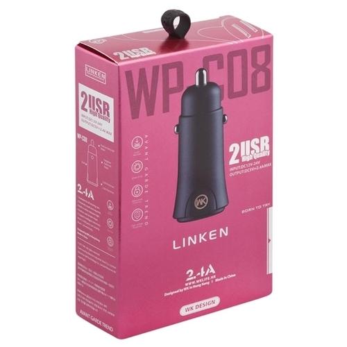 Автомобильная зарядка WK Linken 2 USB (WP-C08)