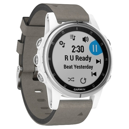 Часы Garmin Fenix 5S Plus Sapphire с замшевым ремешком