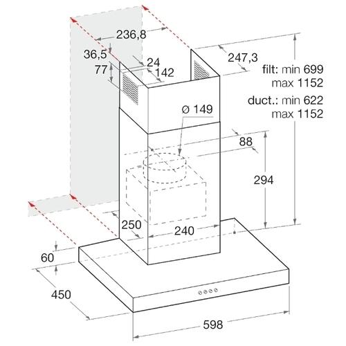Каминная вытяжка Indesit IHBS 6.5 LM X