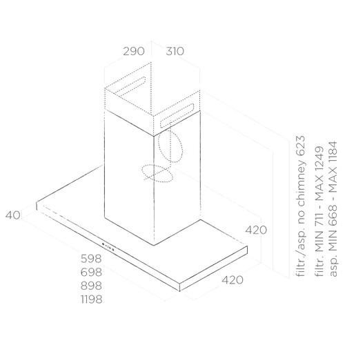 Каминная вытяжка Elica Thin IX/A/60