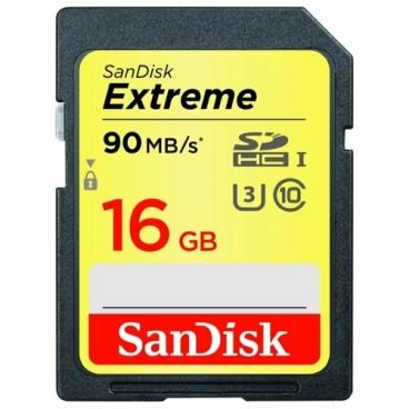 Карта памяти SanDisk Extreme SDHC UHS Class 3 90MB/s 16GB