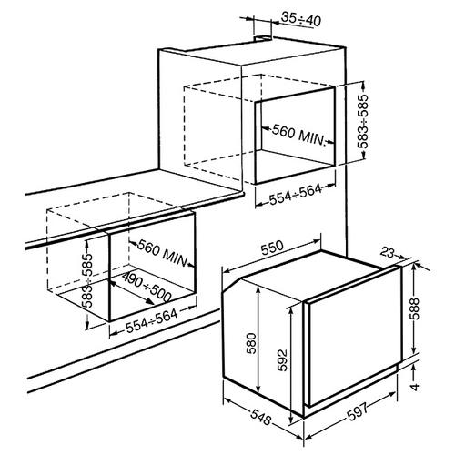 Электрический духовой шкаф smeg SF6102TVB