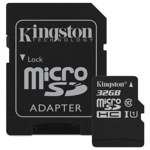 Карта памяти Kingston Canvas Select microSDHC Class 10 UHS-I U1 32GB + SD adapter (SDCS/32GB)
