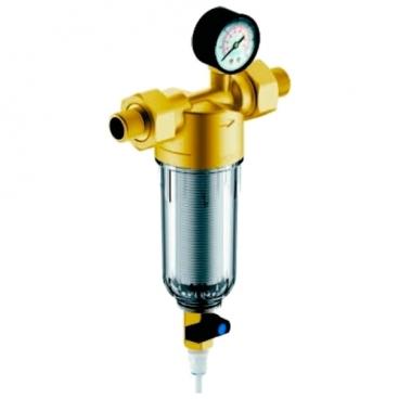 Фильтр механической очистки Гейзер Бастион 112 1/2 муфтовый (НР/НР), латунь, с манометром