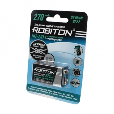 Аккумулятор Ni-Mh 270 мА·ч ROBITON 9V Крона 6F22 270