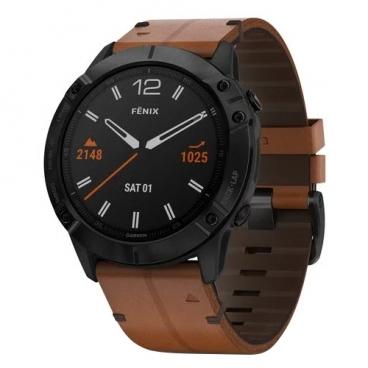 Часы Garmin Fenix 6X Sapphire с кожаным ремешком