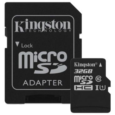 Карта памяти Kingston Canvas Select microSDHC Class 10 UHS-I U1 32GB + SD adapter (SDCS/32GB)
