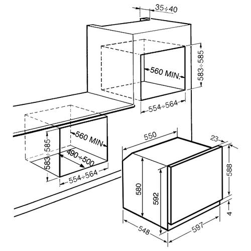 Электрический духовой шкаф smeg SF6922PPZE