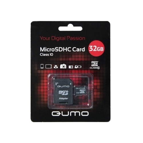 Карта памяти Qumo microSDHC class 10 + SD adapter