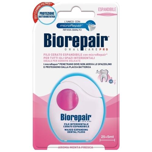 Biorepair Waxed expanding floss расширяющаяся зубная нить c воском для чувствительных десен, 30м