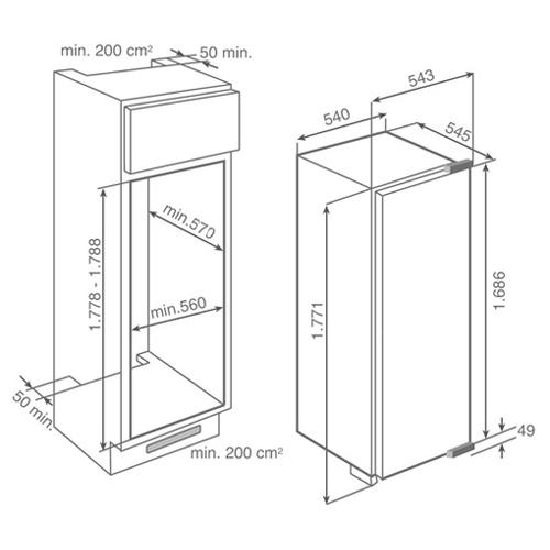 Встраиваемый холодильник TEKA TKI2 300 (40693310)