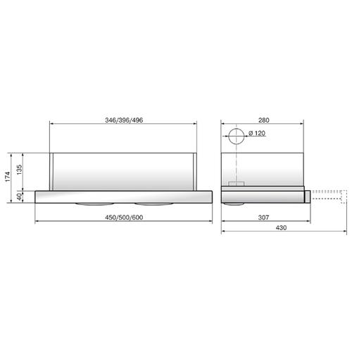 Встраиваемая вытяжка ELIKOR Интегра 50 нержавейка / черное стекло
