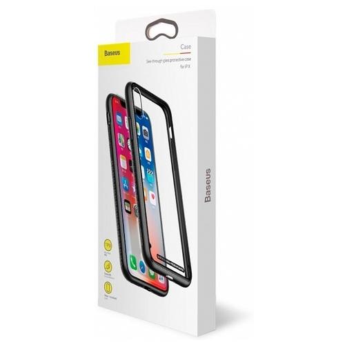Чехол Baseus See-through glass protective case для Apple iPhone X