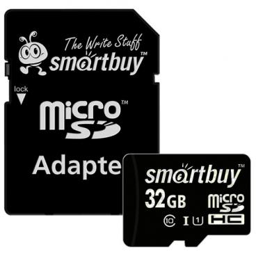 Карта памяти SmartBuy microSDHC Class 10 UHS-I U1 32GB + SD adapter