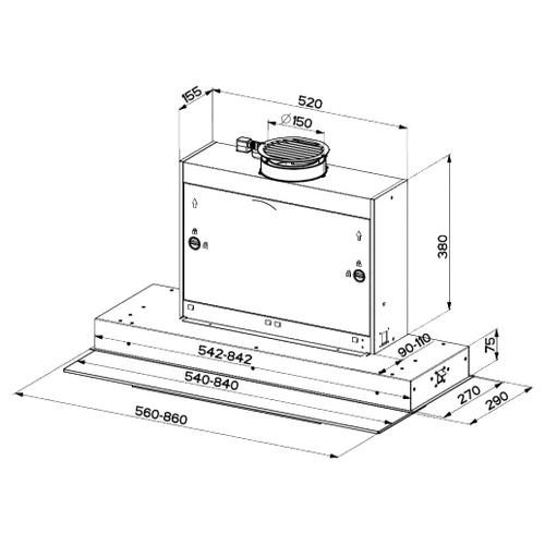Встраиваемая вытяжка Faber SWIFT X/WH GLASS A90