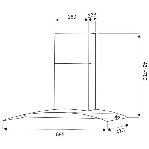 Каминная вытяжка DACH MARTA sensor 90 inox