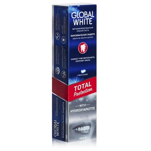 Зубная паста Global White Total Protection витаминизированная, fruit & mint
