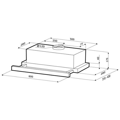 Встраиваемая вытяжка Kronasteel Kamilla Sensor 2M 600 inox/black glass