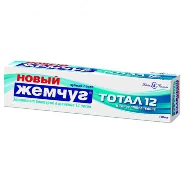 Зубная паста Новый Жемчуг Тотал 12 + нежное отбеливание