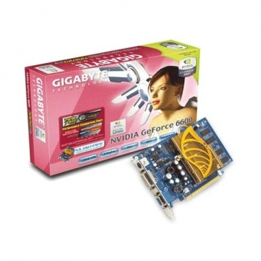 Видеокарта GIGABYTE GeForce 6600 300Mhz PCI-E 128Mb 400Mhz 128 bit DVI TV YPrPb Silent Cool