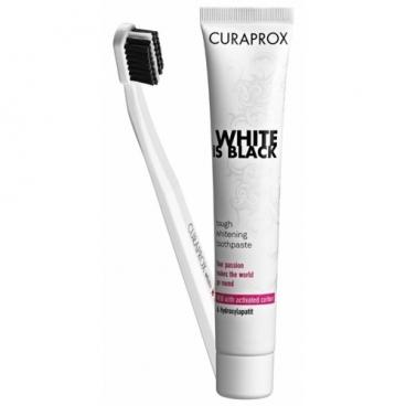 Зубная паста + щетка Curaprox White Is Black + ультрамягкая зубная щетка CS 5460