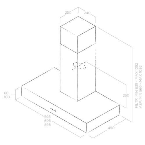 Каминная вытяжка Elica SPOT URBAN CAST IRON/A/90