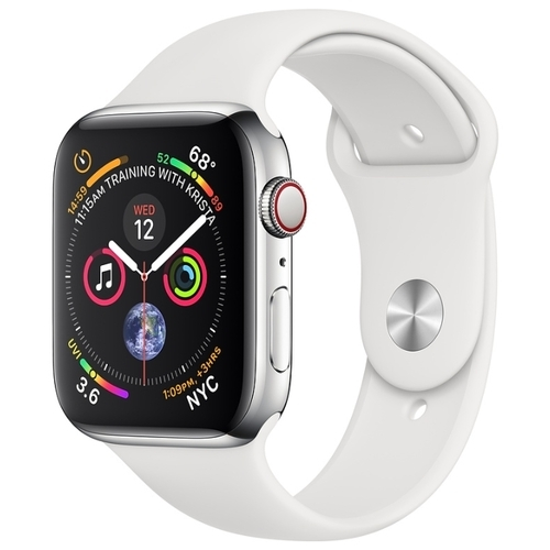 Часы Apple Watch Series 4 GPS + Cellular 44mm Stainless Steel Case with Sport Band