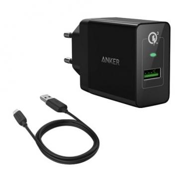 Сетевая зарядка ANKER PowerPort+ 1 + MicroUSB Cable (B2013L12)