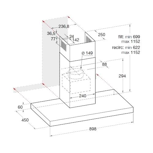 Каминная вытяжка Hotpoint-Ariston HHBS 9.7F LLI X