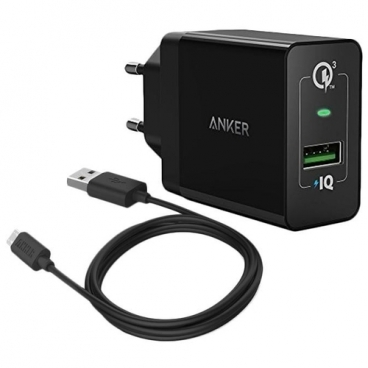 Сетевая зарядка ANKER PowerPort+ 1 + MicroUSB Cable (B2013L11)
