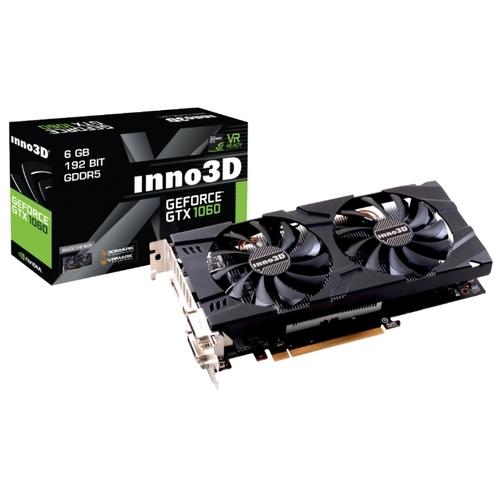 Видеокарта INNO3D GeForce GTX 1060 1506Mhz PCI-E 3.0 6144Mb 8000Mhz 192 bit 2xDVI HDMI HDCP Twin X2