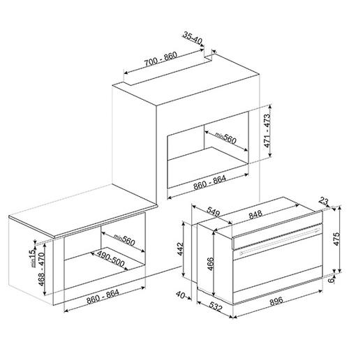 Электрический духовой шкаф smeg SFR9390X
