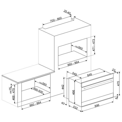 Электрический духовой шкаф smeg SFPR9395X