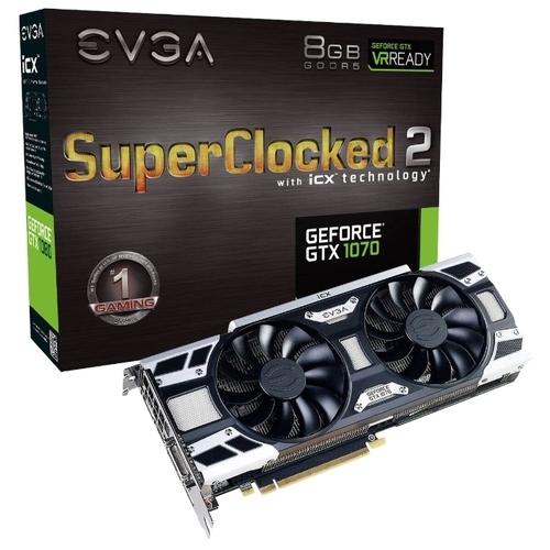 Видеокарта EVGA GeForce GTX 1070 1594Mhz PCI-E 3.0 8192Mb 8008Mhz 256 bit DVI HDMI HDCP SC2 GAMING