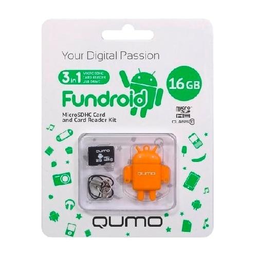 Карта памяти Qumo microSDHC class 10 16GB + Fundroid USB Card Reader