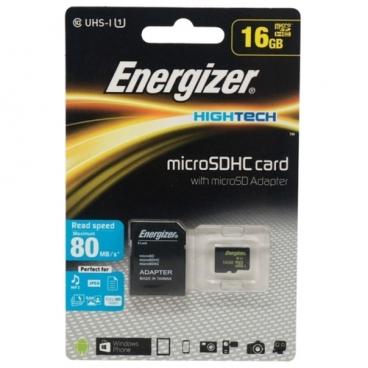 Карта памяти Energizer microSDHC Class 10 UHS-I U1 80MB/s + SD adapter