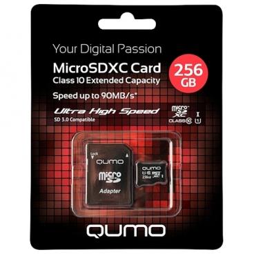 Карта памяти Qumo microSDXC Class 10 UHS Class 1 256GB + SD adapter