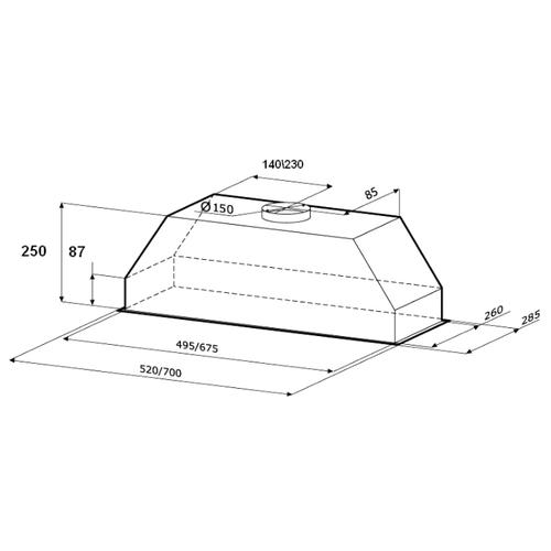 Встраиваемая вытяжка Kronasteel Mini 900 inox