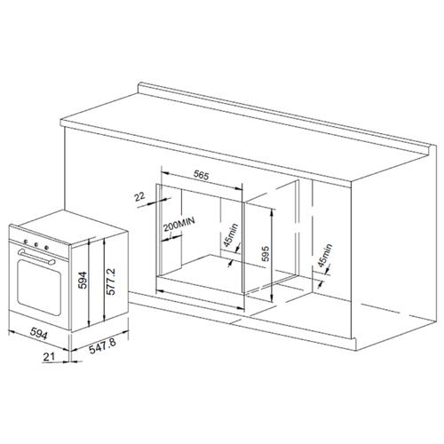 Электрический духовой шкаф PYRAMIDA F 67 EP 70 GBL
