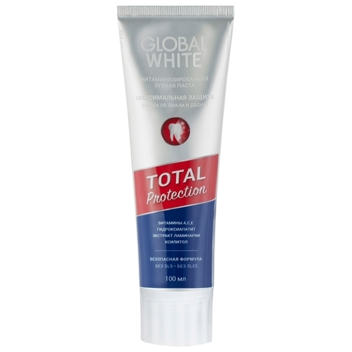 Зубная паста Global White Total Protection витаминизированная, fruit & mint
