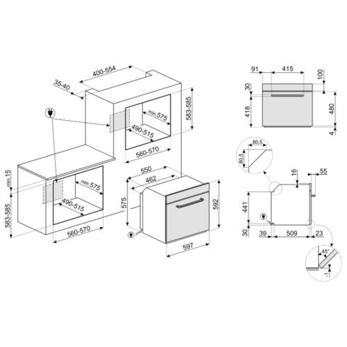 Электрический духовой шкаф smeg SF6922PPZE1