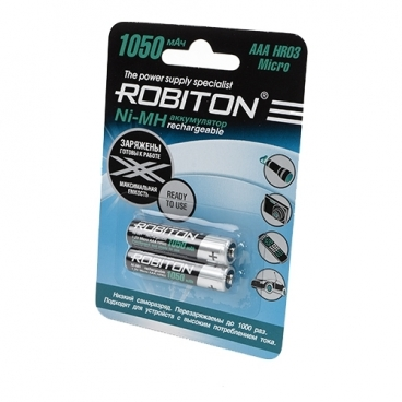 Аккумулятор Ni-Mh 1050 мА·ч ROBITON AAA HR03 Micro 1050