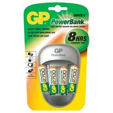 Аккумулятор Ni-Mh 2700 мА·ч GP Rechargeable 2700 Series AA + Зарядное устройство PowerBank