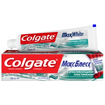 Зубная паста Colgate МаксБлеск с отбеливающими пластинками, мята