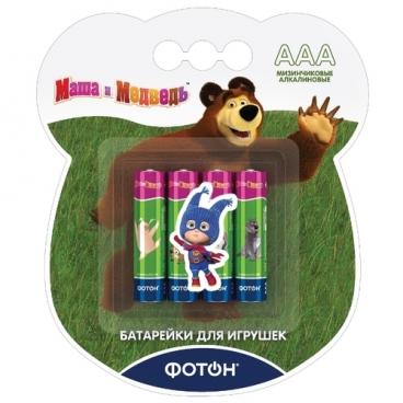 """Батарейка ФОТОН AAA/LR03 """"Маша и медведь"""" + наклейка"""