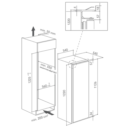 Встраиваемый холодильник KitchenAid KCBNR 12600
