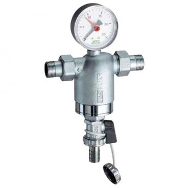 Фильтр механической очистки FAR FA 3944 12100 муфтовый (НР/НР), латунь, с манометром